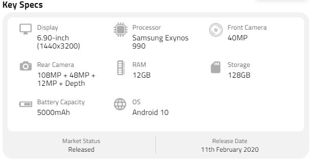 Samsung Galaxy S20 Plus specs